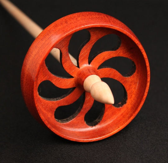 "Spanish Peacock ""Do Not Drop"" Spindle - Wave Design"