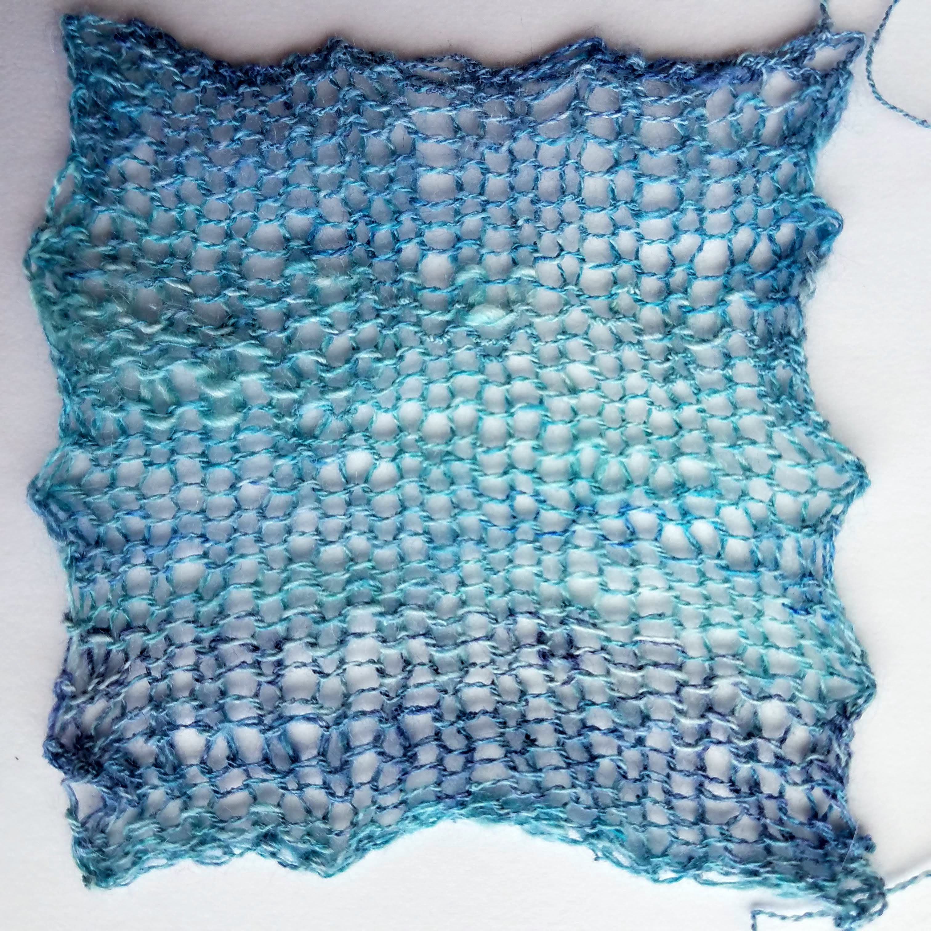 My Gauge Swatch for the Angelique Shawl by Corrine Walcher