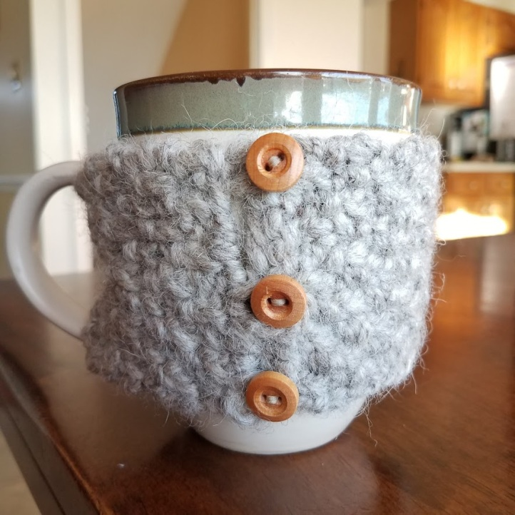 Coffee cup cozy in action!