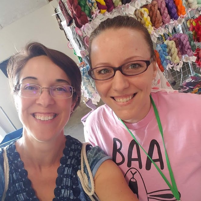 Leanne from Ewe Knit & Sew takes a selfie break with the Peahen