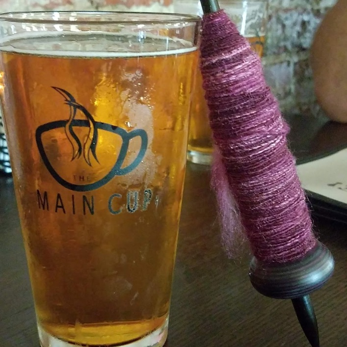 Tour de Fleece 2019 - day 6. So pleased with my spinning, I took it out for a beer.