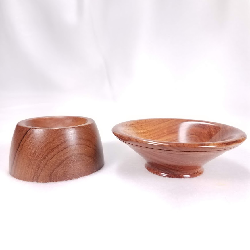 Some bowls work best on flat surfaces (left), whereas others can be used on flat or curved surfaces (like a lap, right)