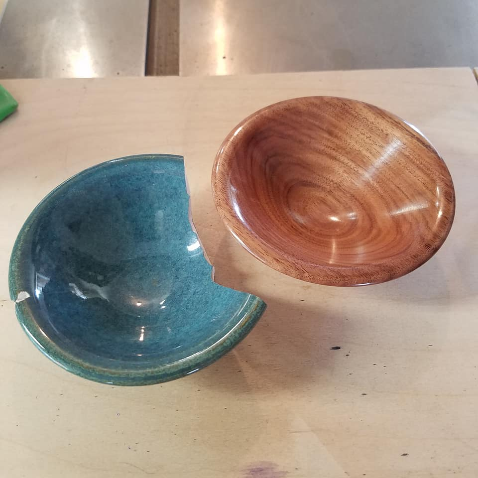 Mike - the Spanish Peacock - created a wooden reproduction of my broken ceramic bowl