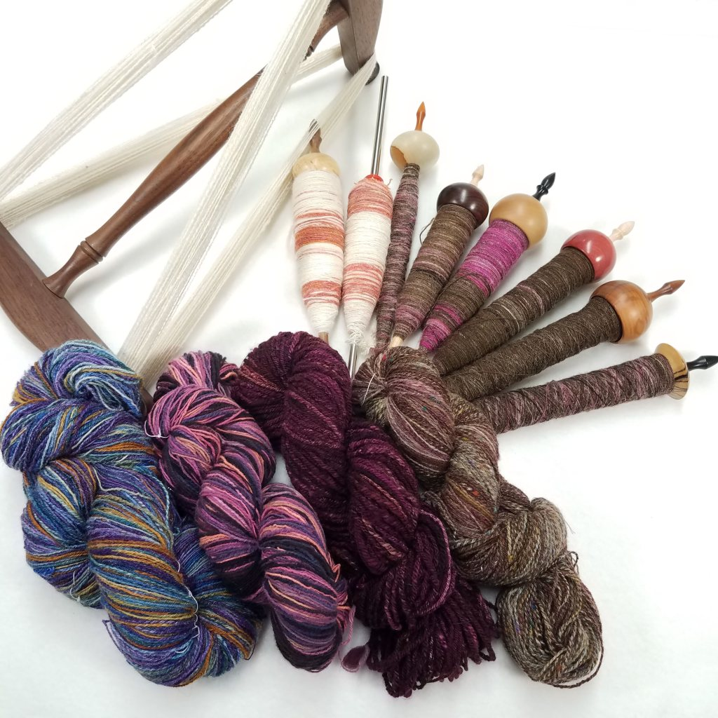 My 2019 Handspun, in various states of completion