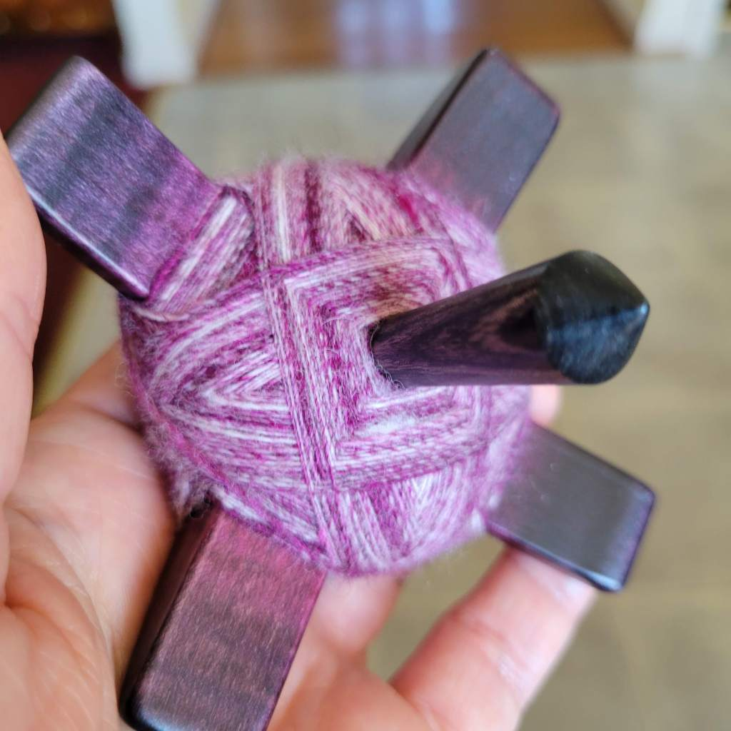 """The underside of my """"fat turtle"""" wrap on the Turkish spindle"""